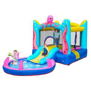 Zimtown Safe Inflatable Bounce House Castle Kids Water Spray Jumper Bouncer with 350W UL Certified Air Blower