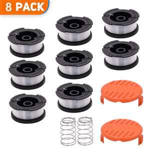 """Green Box Innovations 8-Pack 30ft 0.065"""" String Trimmer line Replacement Spool for Black+Decker AF-100 Weed Eater Line Spool, Superior Design with Automatic Feed System (8 Spool+2 Spring+2 Cap)"""