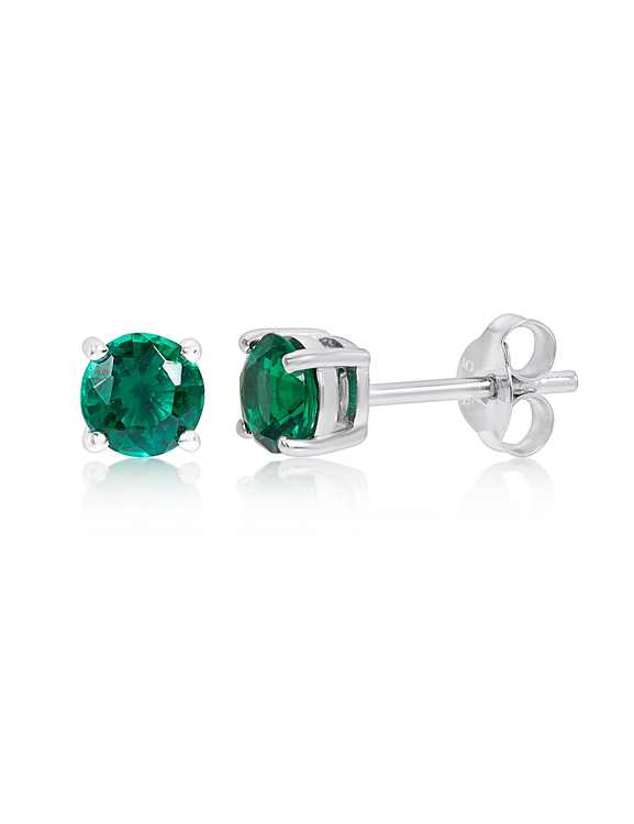 Sterling Silver Created Emerald Gemstone Stud Earrings
