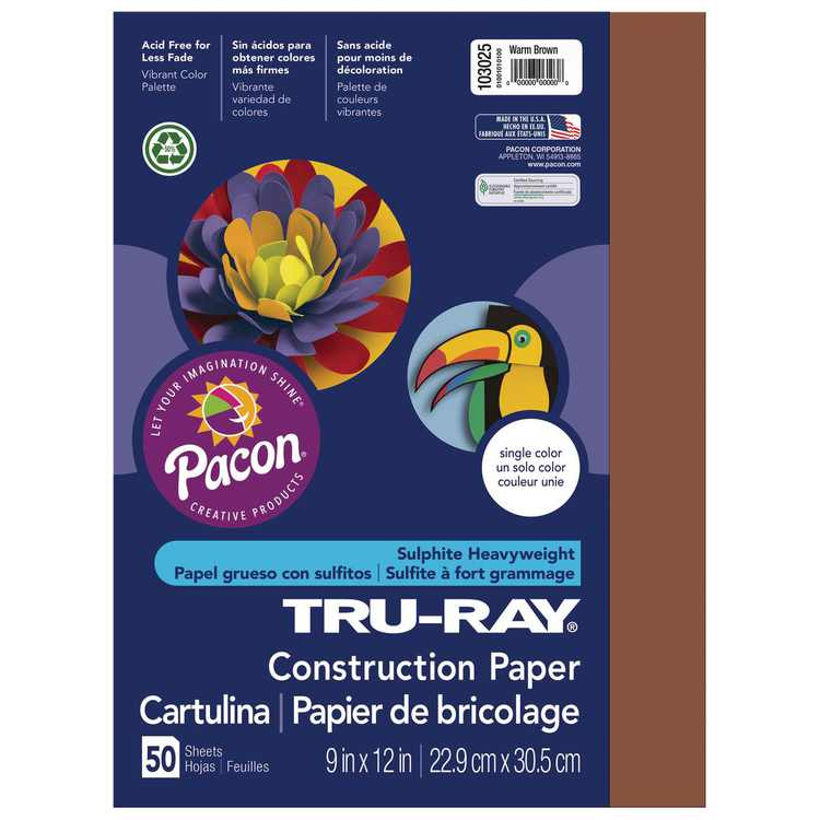 """Pacon Tru-Ray Construction Paper, 9"""" x 12"""", Warm Brown"""