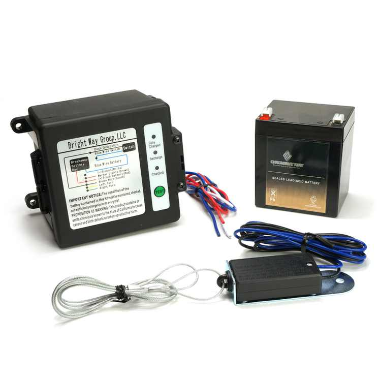Breakaway Kit (Side-Load) for Trailer with Charger, Switch and 12 Volt 5 Amp Hour SLA Battery with LCD Screen