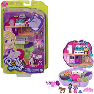 Polly Pocket Jumpin Style Pony Compact with Horse Show Theme, Micro Polly Doll & Friend, 2 Horse Figures (1 with Saddle & Tail Hair), Fun Features & Surprise Reveals, Great Gift for Ages 4 & Up