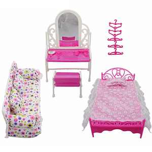 8 Items Princess Furniture Accessories Girls Kids Gifts 1xDresser Set + 1x Sofa Set+1xBed Set + 5x Hangers for Barbie Doll