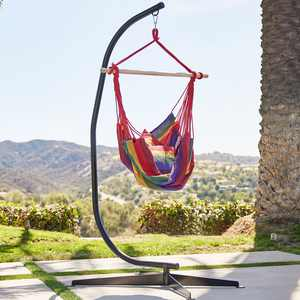 Belleze Hammock Chair with C Frame Stand Combo Hanging Rope Solid Steel Frame, Cotton Fabric