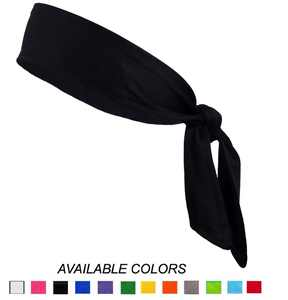 Kenz Laurenz Tie Back Headband Moisture Wicking Athletic Sports Head Band Black