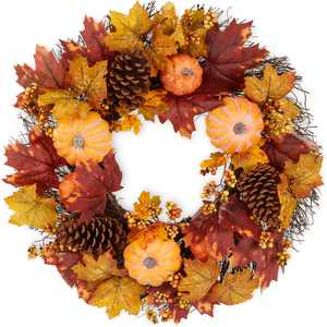 Best Choice Products 24in Artificial Fall Wreath, Autumn Thanksgiving Holiday Decoration w/ Pumpkins, Pine Cones