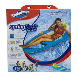 SwimWays Spring Float Recliner - Swim Lounger for Pool or Lake - Dark Blue/Light Blue