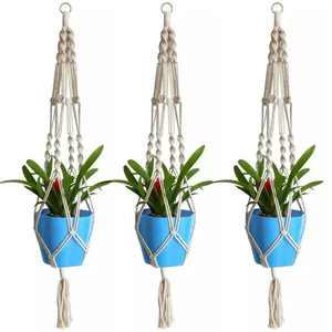 EEEKit 3 Pack Macrame Plant Hanger - Indoor Outdoor Hanging Planter Shelf - Decorative Flower Pot Holder - Hanging Baskets For Plant, Boho Bohemian Home Decor, in Box, for Succulents, Cacti, Herbs