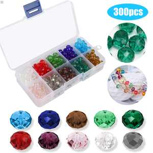EEEkit 300Pcs 8mm Briolette Faceted AB Crystal Glass Beads for Jewelry Making Findings with Bead Container, Briollete Rondelle Assorted Colors