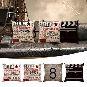 "Set of 4 Decorative Throw Pillow Case Cushion Cover Theater Vintage Cinema Pattern Decorative Pillow Protector for Sofa Couch Chair Car, 18""x18"""