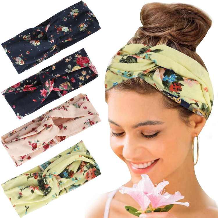 4pcs Boho Turban Headbands Criss Cross Headband, Bohemia Floral Head Wrap, Women Hair Band Stylish Elastic Fabric Hairbands for Yoga Workout Running