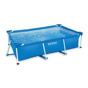 Intex 8.5 x 5.3 x 2.13 Foot Rectangular Frame Above Ground Swimming Pool, Blue