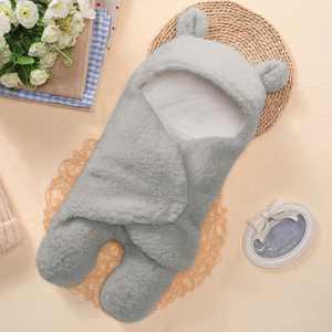 Tuscom Cute Newborn Baby Boys Girls Blankets Plush Swaddle Blankets Grey
