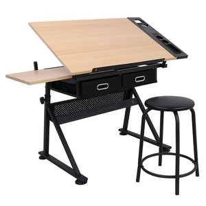 Height Adjustable Drafting Draft Desk Drawing Table Desk Tiltable Tabletop w/Stool and Storage Drawer for Reading, Writing Art Craft Work Station