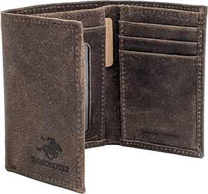Winchester Trifold Wallet for Men, Full Grain Genuine Leather with RFID Security,  Little Amarillo