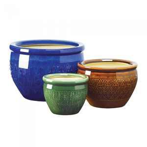 Ceramic Flower Pot, Jewel Tones, Set of 3
