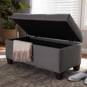 Baxton Studio Michaela Modern and Contemporary Grey Fabric Upholstered Storage Ottoman