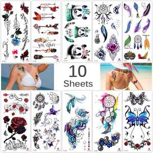 """""""TRICOLOUR 10 Sheets Temp Body Art Temporary Tattoos Fake Tattoo for Women Kids Butterfly Flower Rose Feather Pattern Waterproof Stickers"""""""