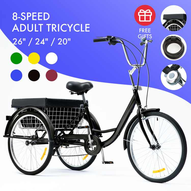 """26"""" Adult Tricycle w/ Large Size Basket Comfort Cruiser for Men & Women With 8-speed Transmission Black"""