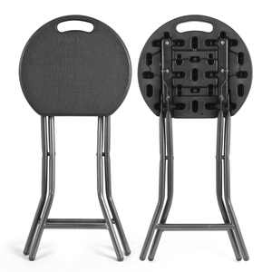 Portable Folding Stool 18.1 inch Collapsible Round Premium Plastic Chairs Black, 2 Pack