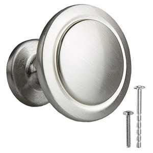Satin Nickel Kitchen Cabinet Knobs - 1 1/4 Inch Round Drawer Handles - 10 Pack of Kitchen Cabinet Hardware