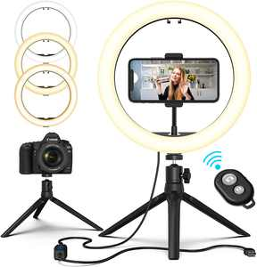 """10.2"""" LED Selfie Ring Light with Tripod Stand & Phone Holder Remote Control - Dimmable Desk Makeup Ring Light with 3 Light Modes & 10 Brightness Level for Photography/Shooting/Live Streaming"""