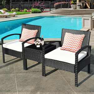 Costway 3 Pieces Rattan Wicker Furniture Set Seat Cushioned Patio Garden Outdoor with Beige Cushions