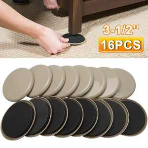 16 Pieces Furniture Sliders, Reusable Heavy Furniture Movers, 3.5inch Round Furniture Sliders, Furniture Moving Kit for Carpeted and Hard Floor Surfaces Felt Pads Sliders, Suitable for All Furniture