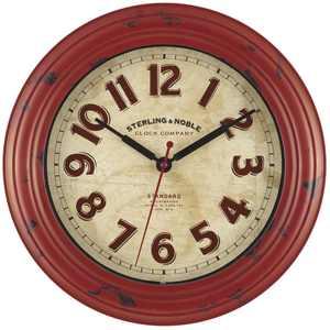 "Mainstays Plastic 11.5"" Rustic Red Wall Clock"