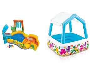 """Intex 8' x 6.25' x 43"""" Dinosaur Play Center w/ 5' x 48"""" Kids Swimming Pool"""