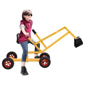 Topbuy Steel Frame Kid Ride-on Sand Digger Heavy Duty Digging Scooper 4-wheel Toy Excavator