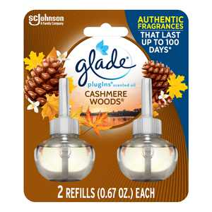 Glade PlugIns Refill 2 CT, Cashmere Woods, 1.34 FL. OZ. Total, Scented Oil Air Freshener Infused with Essential Oils