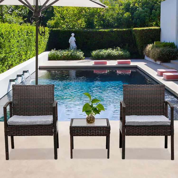 Ktaxon 3 PCS Patio Rattan Wicker Furniture Set Chair Coffee Table with Cushions