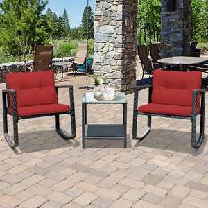 Gymax 3PCS Rattan Rocking Chair Table Set Patio Furniture Set w/ Burgundy Cushions