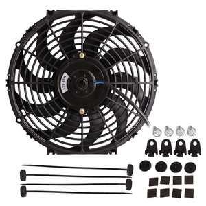 "12"" 12V 80W Electric Radiator Cooling Fan Assembly Kit 1730CFM Universal  Engine Reversible Slim Fan Mounting Kit"