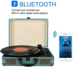 DIGITNOW Record Player Vintage 3-Speed Bluetooth Vinyl Turntable with Stereo Speaker, Belt Driven Suitcase Vinyl Record Player (Blue)