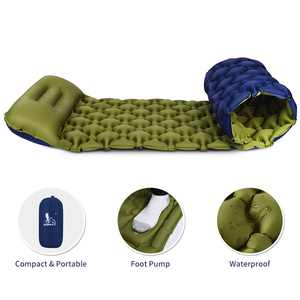 83 x 22 In Self Inflatable Sleeping Pad for Camping with Pillow Comfortable Foam Camping Mat Foldable Camping Mattress for Backpacking, Hiking, Traveling and Hiking with Carry Bag