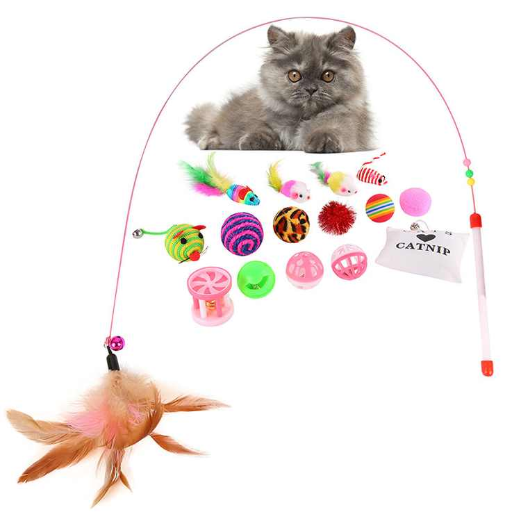 16Pcs/set Pet Cat Interactive Toys Feather Ball Mice Animals Toy for Cats