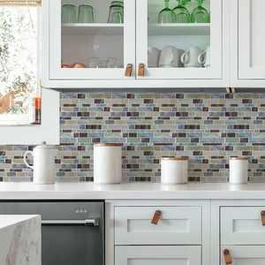 "RoomMates Blue Long Stone Tile Peel and Stick Backsplash (Includes 4 tiles of 10.5"" x 10.5"" each)"