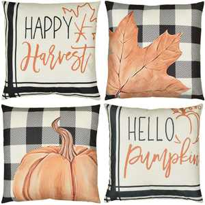 Fall Pillow Covers for Thanksgiving, 4pcs Buffalo Plaid Pillowcases, 18x18in Linen Cushion Cover with Pattern Maple Pumpkin for Farmhouse Sofa Couch Home Decor