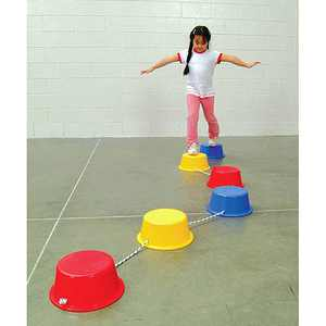 "School Smart Stepping Buckets Balance Builders, 12"" x 5"", Set of 6"