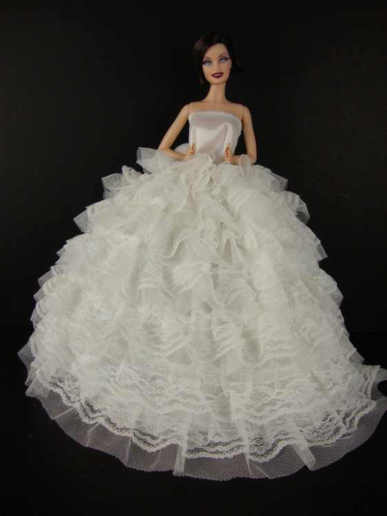 Beautiful White Gown with Tons of Ruffles Ball Gown Made to Fit the Barbie Doll, Handcrafted Especially for Olivia's Doll Closet to fit the.., By Olivia's Doll Closet