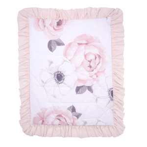 Lambs & Ivy Floral Garden Watercolor & Pink Linen Reversible Crib/Toddler Quilt