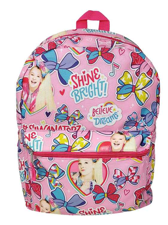 """JoJo Siwa 16"""" Backpack All-Over Print Believe your Dreams Shine Bright Pink"""