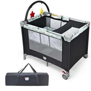 Gymax Portable Baby Playard Playpen Nursery Center w/ Changing Station & Mattress