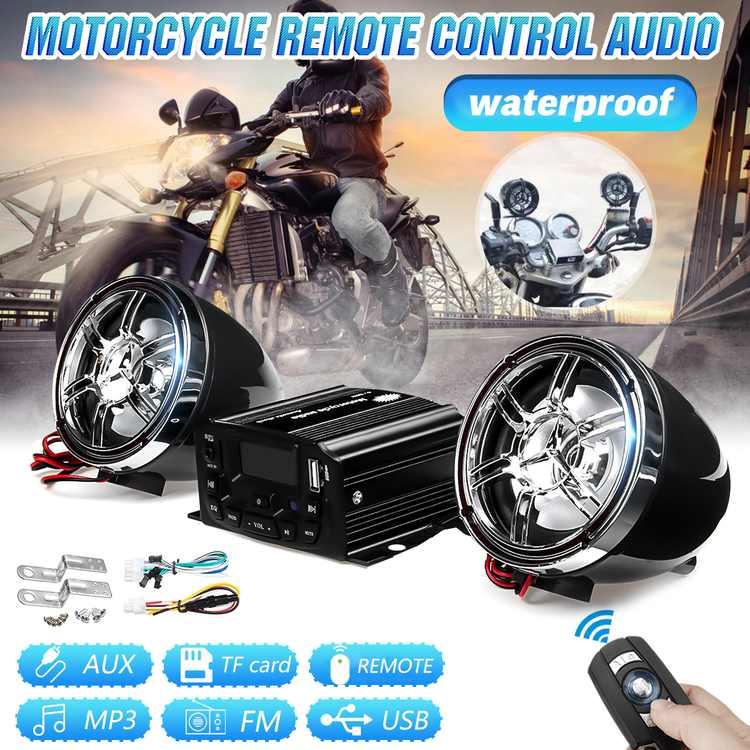 Pair 12V Motorcycle Audio Remote Control Speaker Sound System SD USB Universal