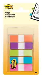 """Post-it Flags, Assorted Bright Colors, .5"""" Wide, 100 Flags/Dispenser"""