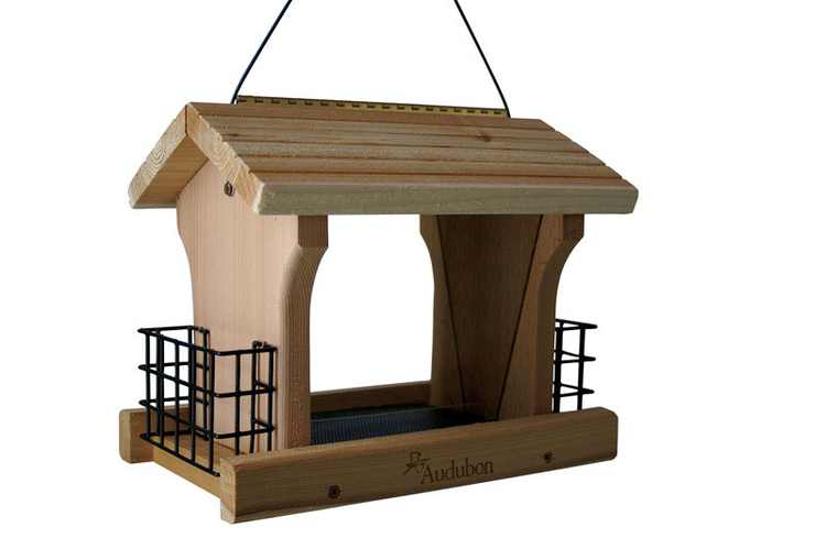 Audubon Large Ranch Wild Bird 5 lb. Cedar Combo Seed & Suet Bird Feeder 4 ports