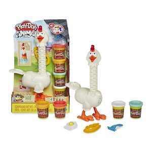 Play-Doh Animal Crew Cluck-a-Dee Feather Fun Farm, Includes 4 Cans of Play-Doh
