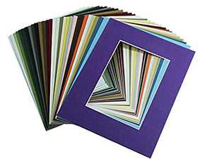 High Quality Crescent Pack of 10 11x14 MIXED COLORS White Core Picture Mats for 8x10 Photos